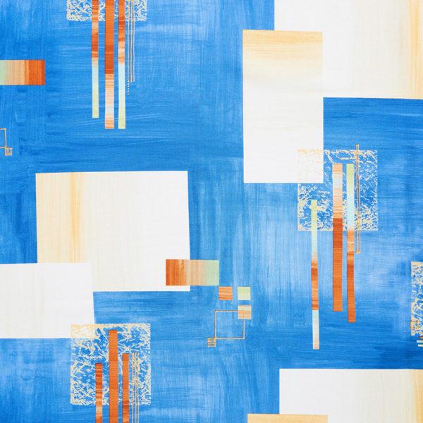 Magilu International - Tovaglia antimacchia e antistiro su misura per ristorante - Mod. Fantasia Geometrico Blu