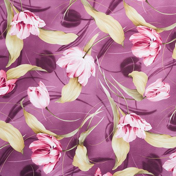 Magilu International - Tovaglia antimacchia e antistiro su misura per ristorante - Mod. Fantasia Tulipano viola